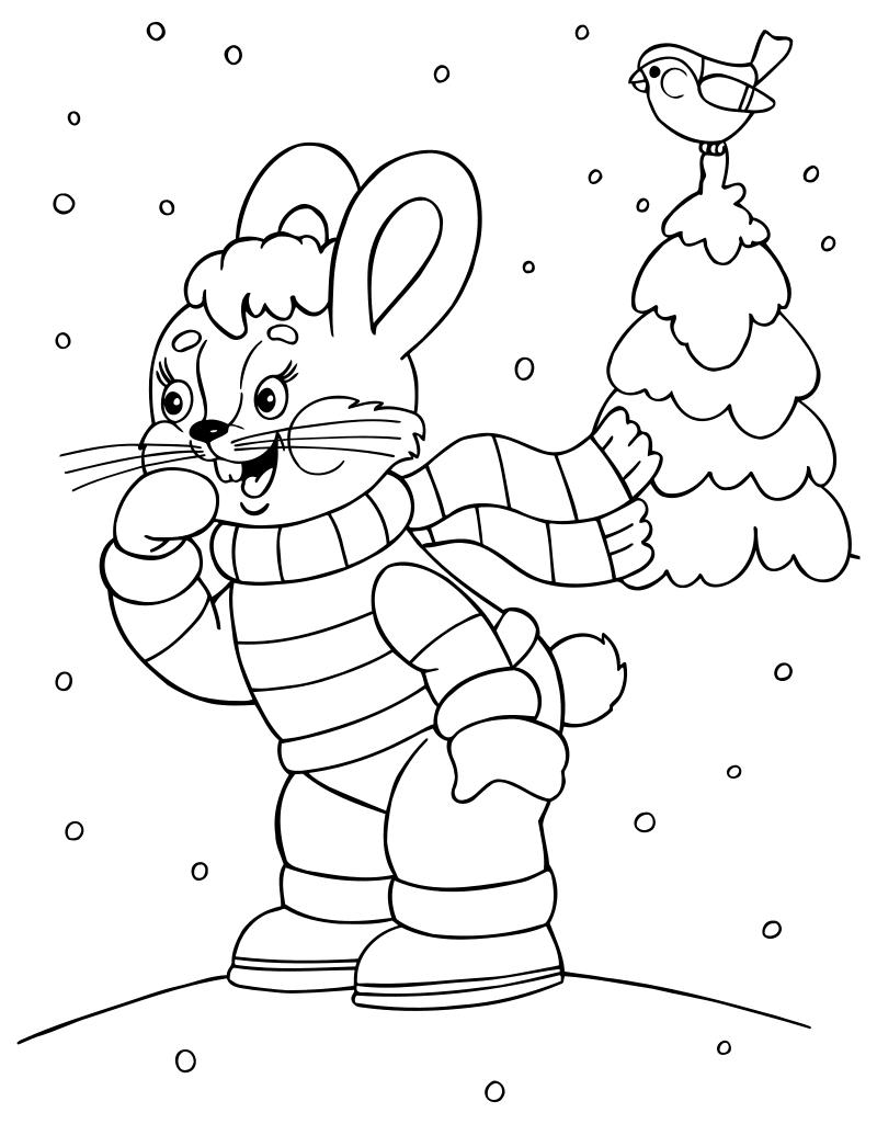 Раскраска - Новый год - Радостный зайчик