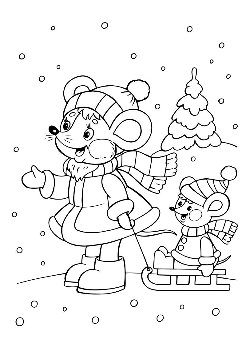 Раскраска - Новый год - Мышка с мышонком на санках