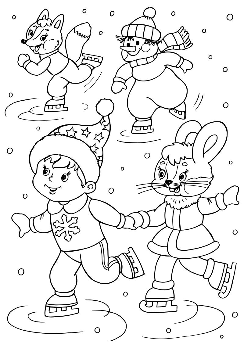 Раскраска - Новый год - Лисёнок, снеговик, мальчик и зайка на коньках