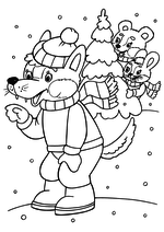 Раскраска - Новый год - Волчонок, мишка и зайка