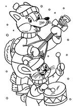 Раскраска - Новый год - Волчонок и зайка - музыканты