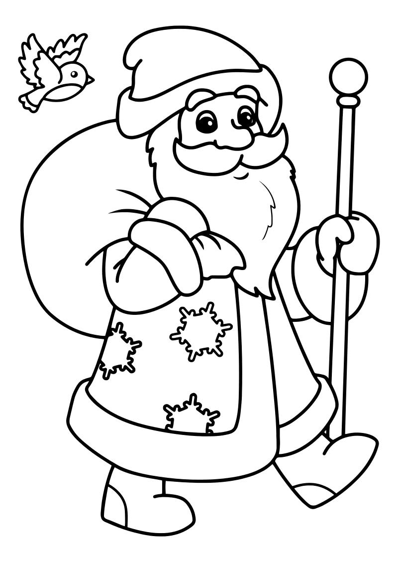 Раскраска - Новый год - Дед Мороз с мешком подарков