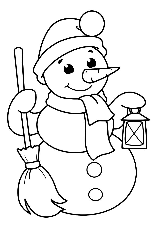 Раскраска - Новый год - Снеговик с метлой и фонарём