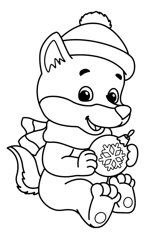 Раскраска - Новый год - Волчонок с ёлочной игрушкой