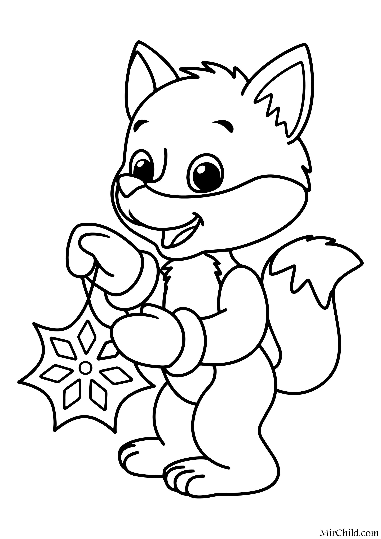 Раскраска - Новый год - Лисёнок со снежинкой | MirChild