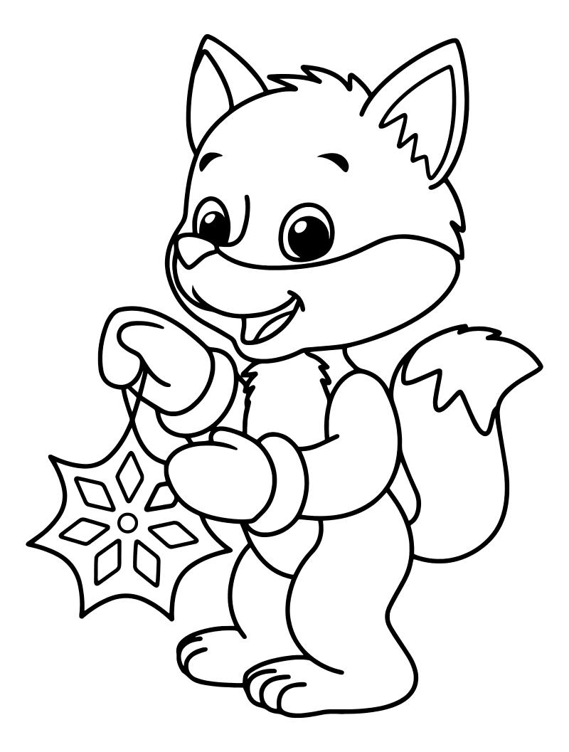 Раскраска - Новый год - Лисёнок со снежинкой