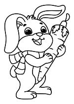 Раскраска - Новый год - Зайчик с морковкой