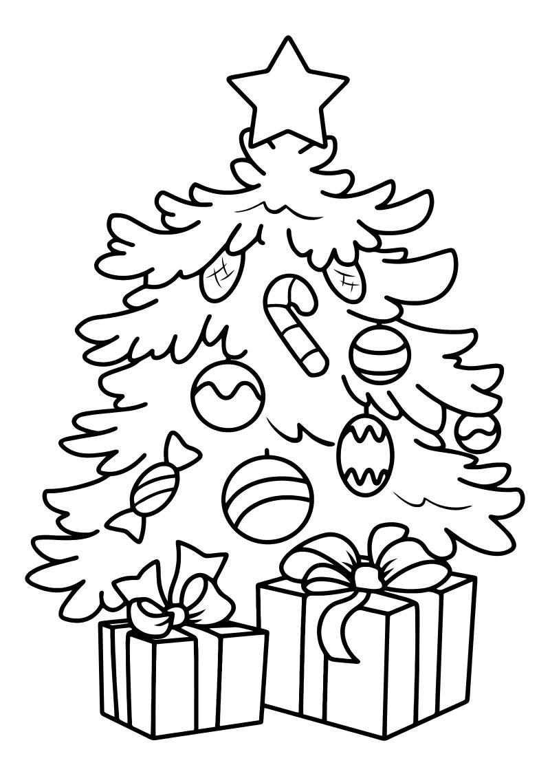 Раскраска - Новый год - Наряженная ёлочка | MirChild