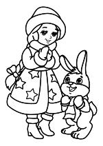 Раскраска - Новый год - Снегурочка и Зайчик