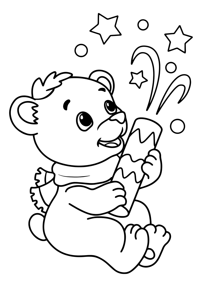 Раскраска - Новый год - Мишка хлопнул хлопушку