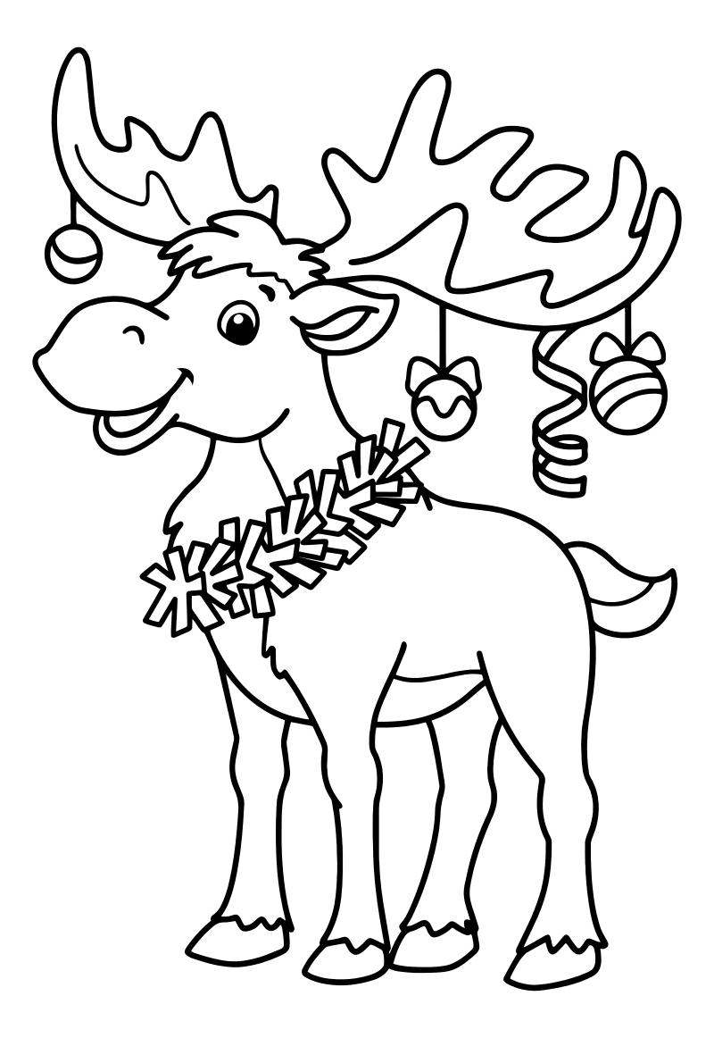Раскраска - Новый год - Лосёнок с мишурой