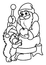 Раскраска - Новый год - Ёжик и Дед Мороз