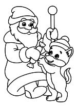 Раскраска - Новый год - Дед Мороз и Волчонок