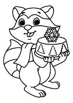 Раскраска - Новый год - Енот с праздничным тортом