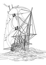 Раскраска - Парусники - Парусный корабль