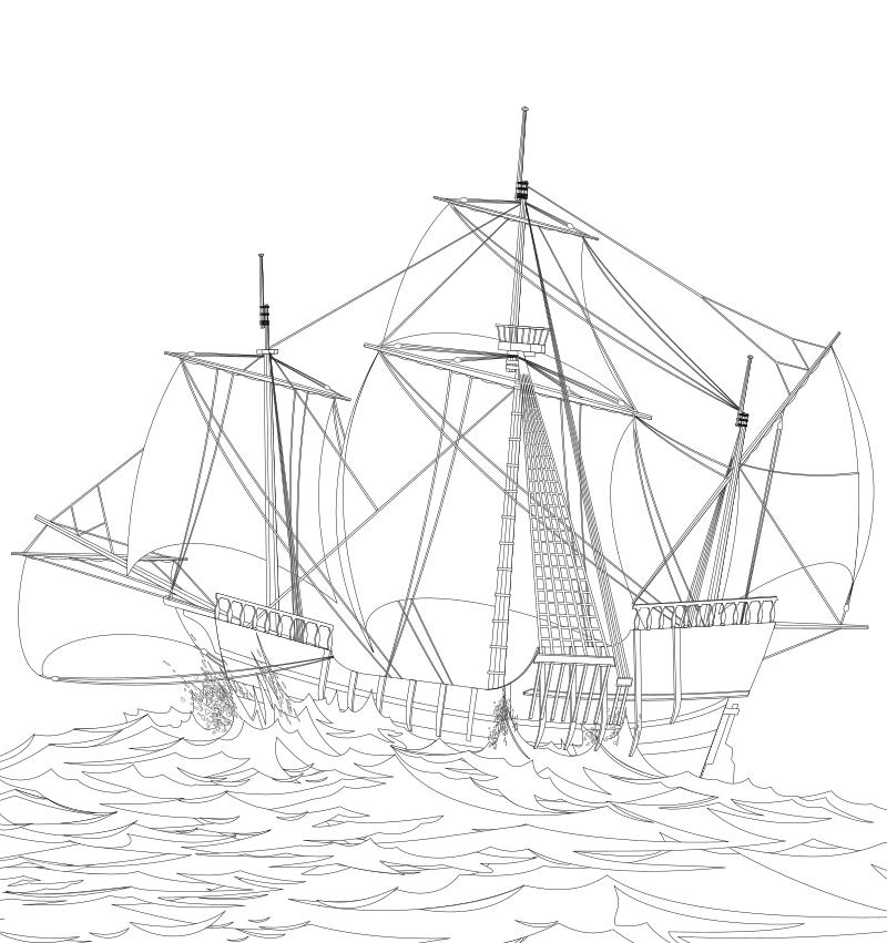 Раскраска - Парусники - Парусное судно в открытом море ...