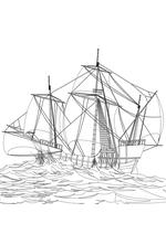 Раскраска - Парусники - Парусное судно в открытом море