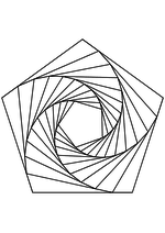Раскраска - Математические фигуры - Пятиугольная спираль