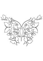 Раскраска - Узорные бабочки - Узорная бабочка из бабочек