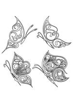 Раскраска - Узорные бабочки - Узорные бабочки 1