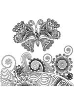 Раскраска - Узорные бабочки - Узорная бабочка с растениями 1