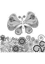 Раскраска - Узорные бабочки - Узорная бабочка с растениями 2