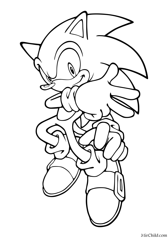 Раскраска - Sonic the Hedgehog - Ёж Соник готов к ...