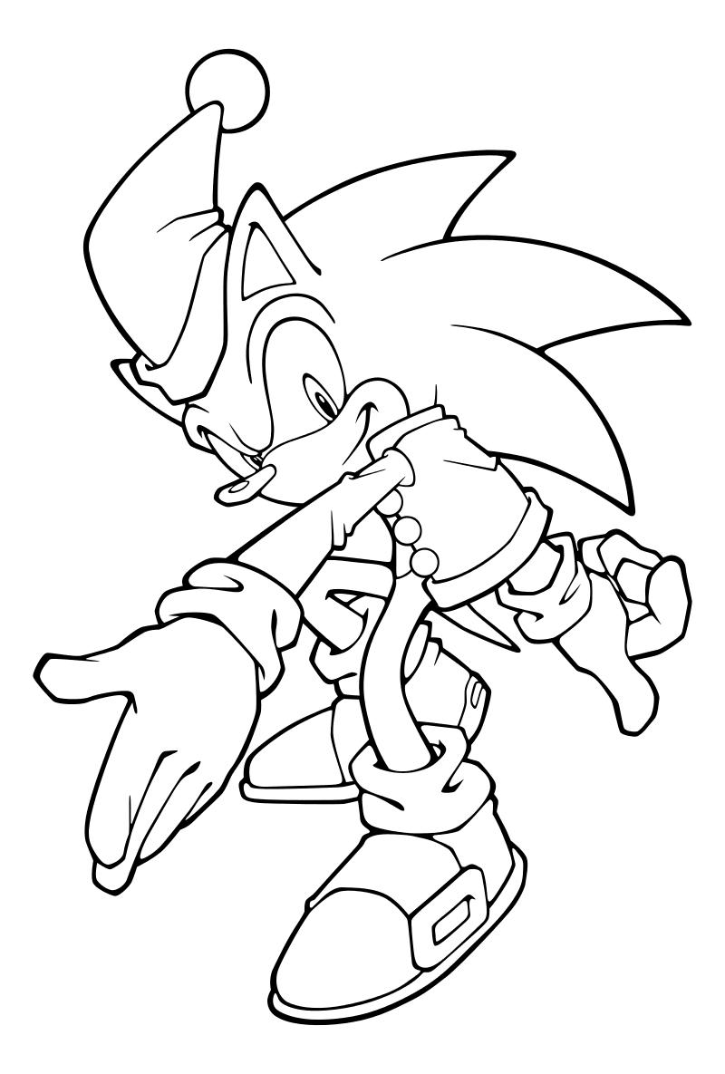 Раскраска - Sonic the Hedgehog - Ёж Соник в новогоднем ...