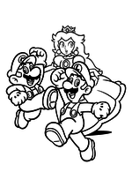 Раскраска - Супер Марио - Марио, Луиджи и Принцесса Пич