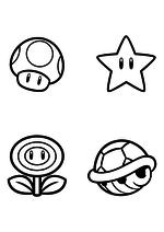 Раскраска - Супер Марио - Гриб, Звезда, Огненный цветок и Купа