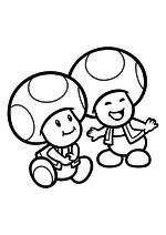 Раскраска - Супер Марио - Тоады