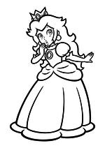 Раскраска - Супер Марио - Принцесса Пич смущена