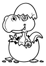 Раскраска - Динозавры - Динозаврик вылупился из яйца