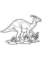 Раскраска - Динозавры - Динозавр Паразауролоф
