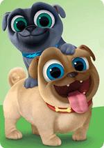 Раскраски - Мультфильм - Дружные мопсы (Puppy Dog Pals)