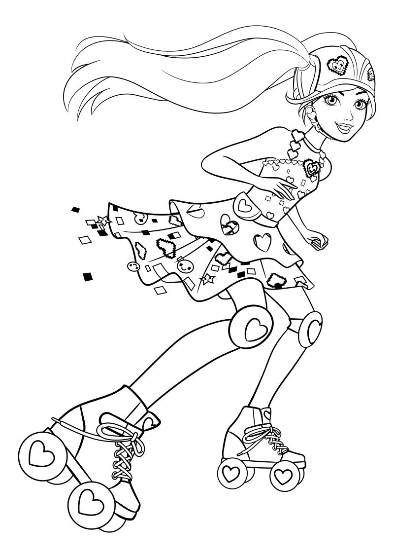 Раскраска - Барби - Барби на роликовых коньках | MirChild