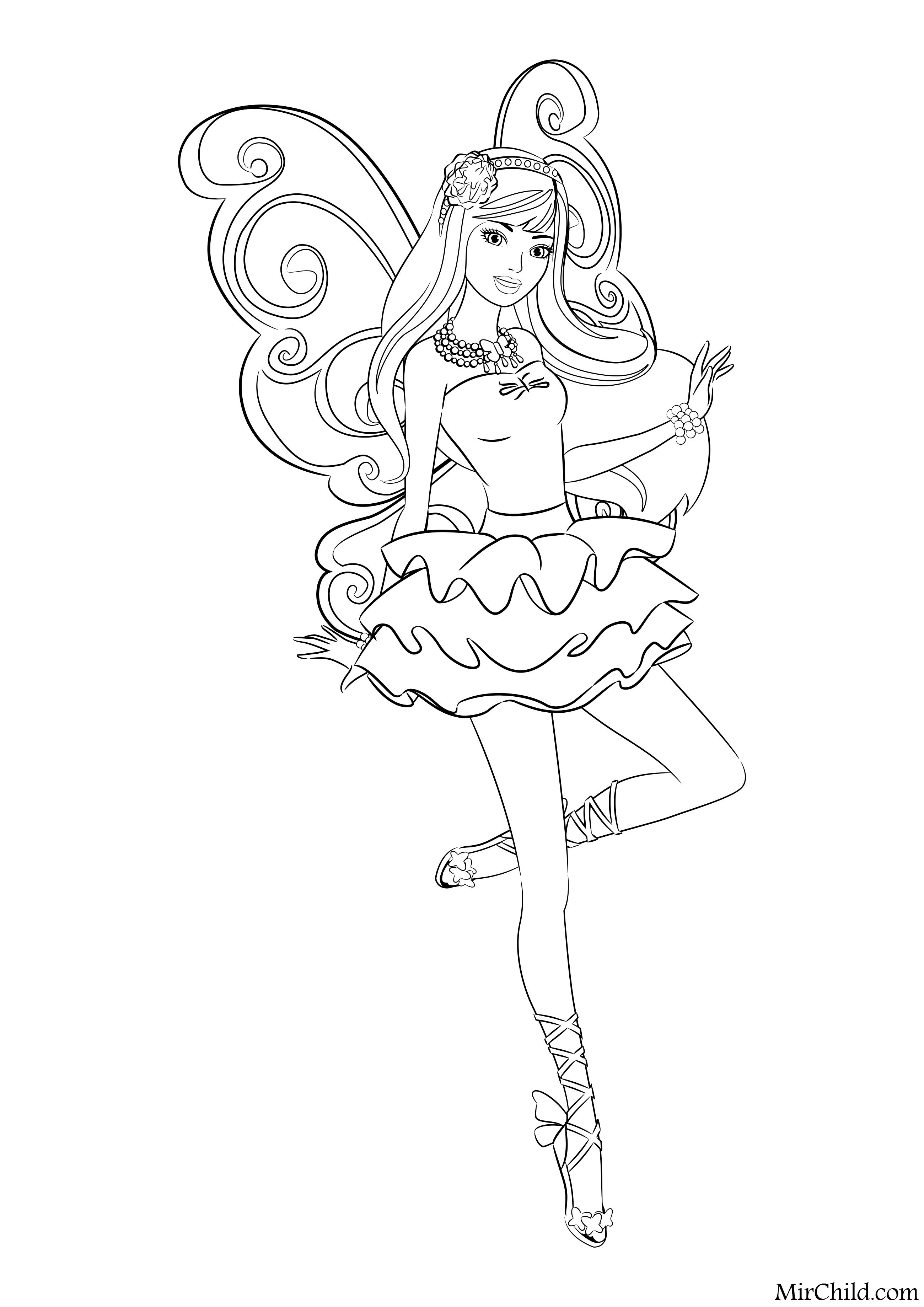 раскраска барби барби блестящая фея Mirchild