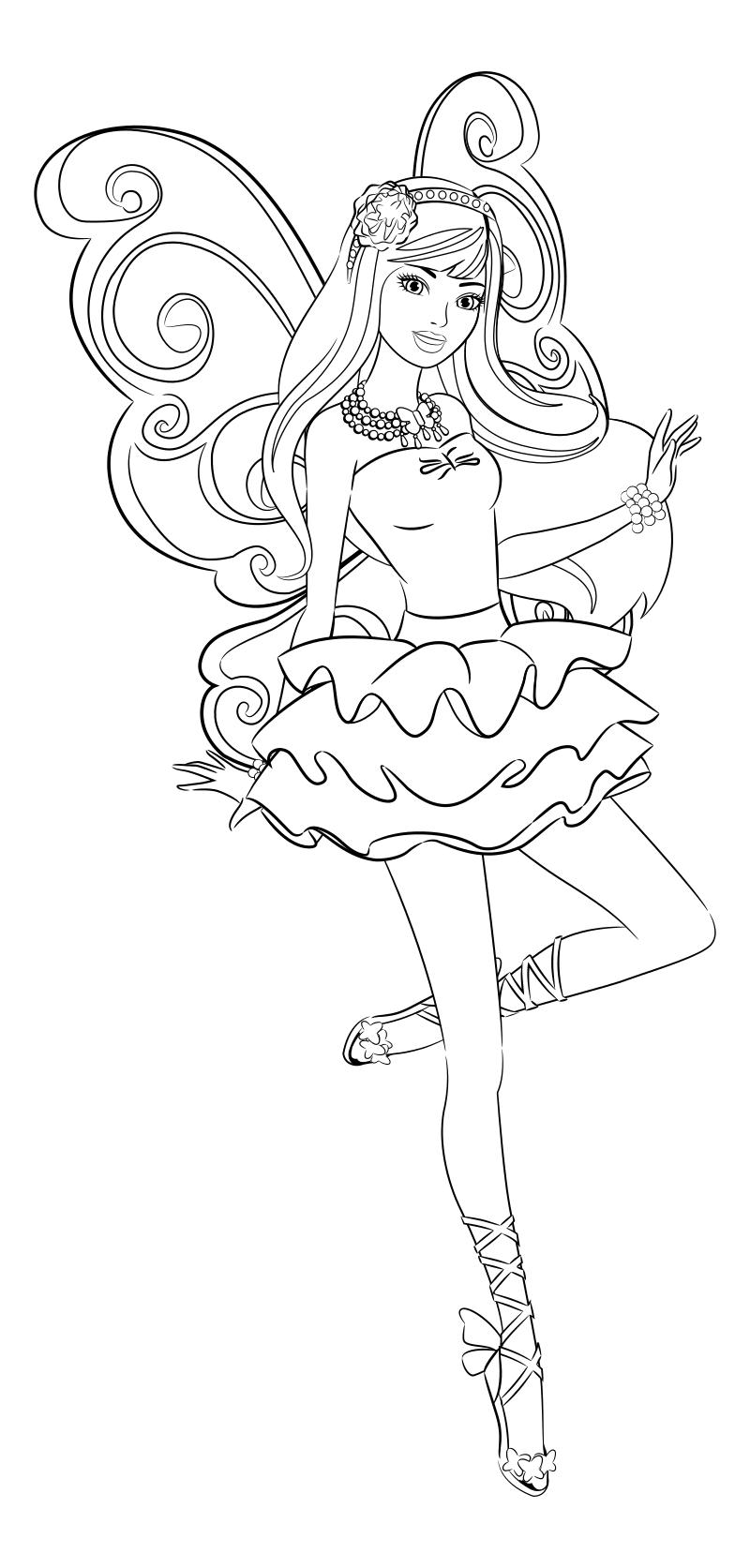 Раскраска - Барби - Барби - блестящая фея | MirChild