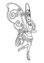 Раскраска - Барби - Барби с крыльями бабочки