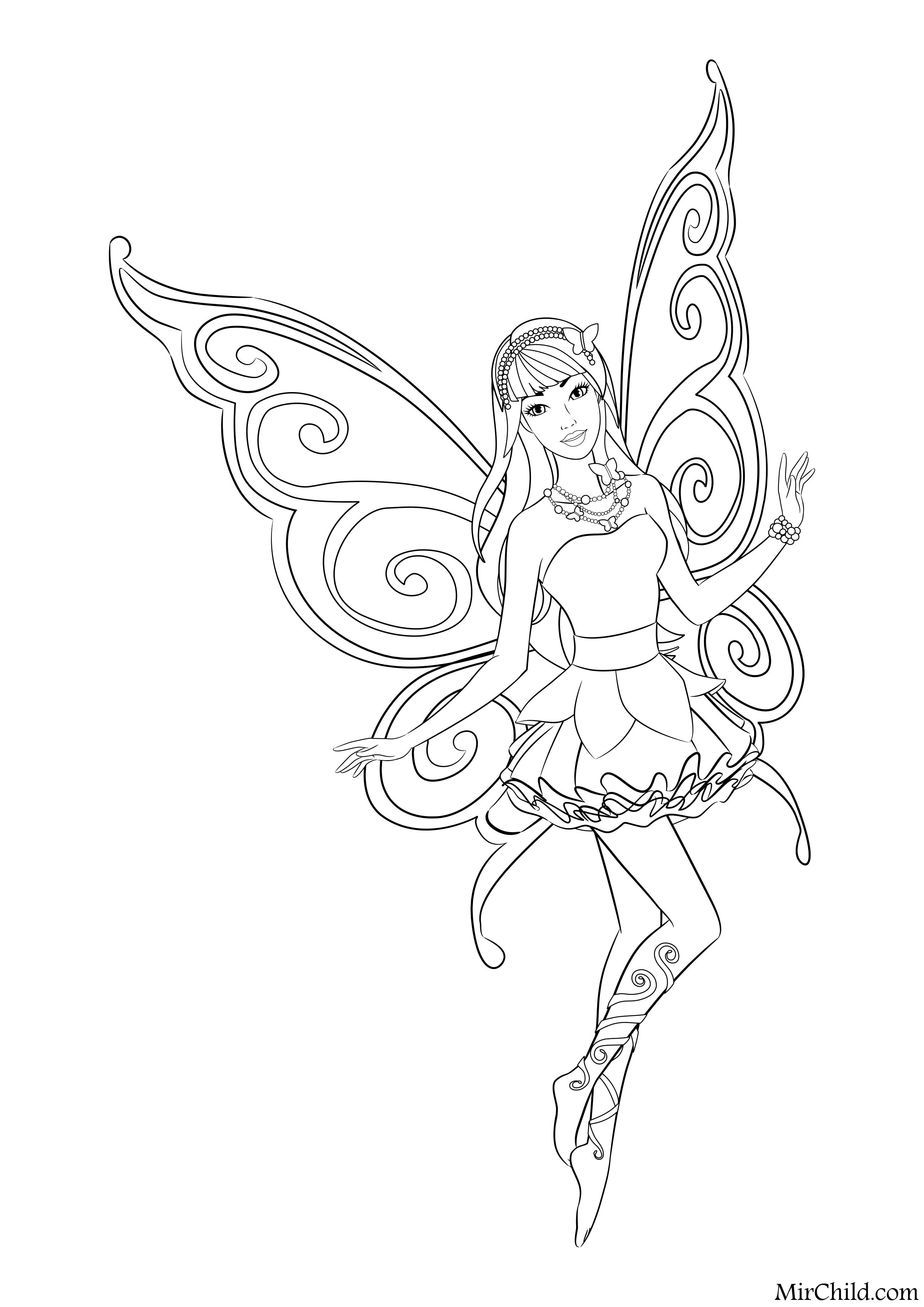 Раскраска - Барби - Барби - бабочка | MirChild
