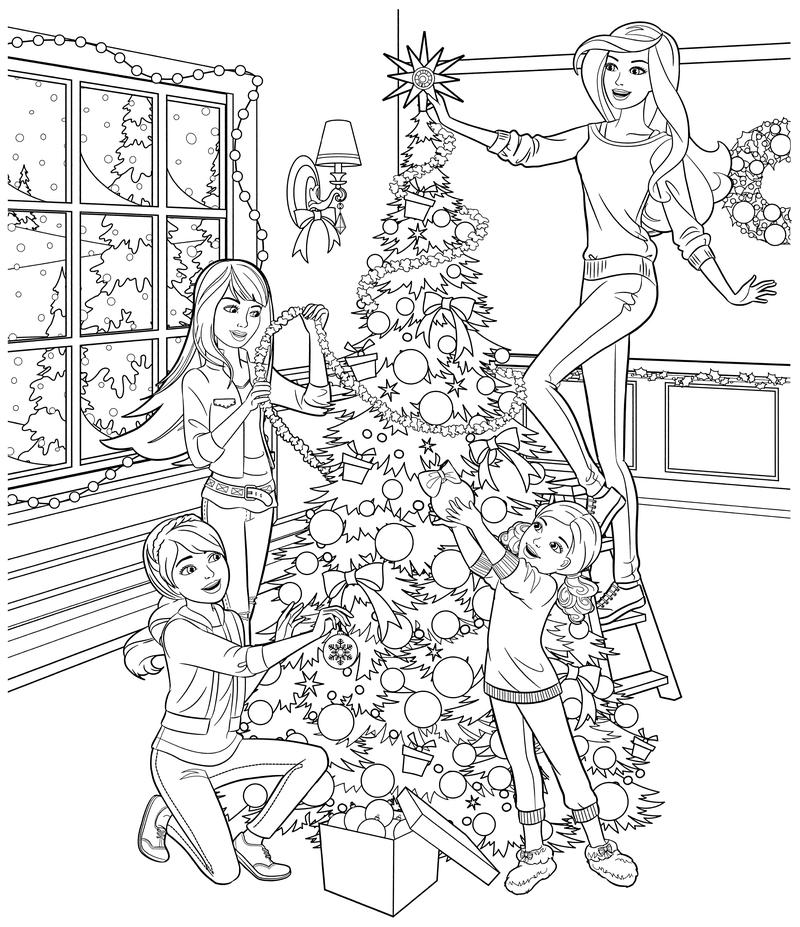 Раскраска - Барби - Барби с сёстрами наряжают ёлку | MirChild