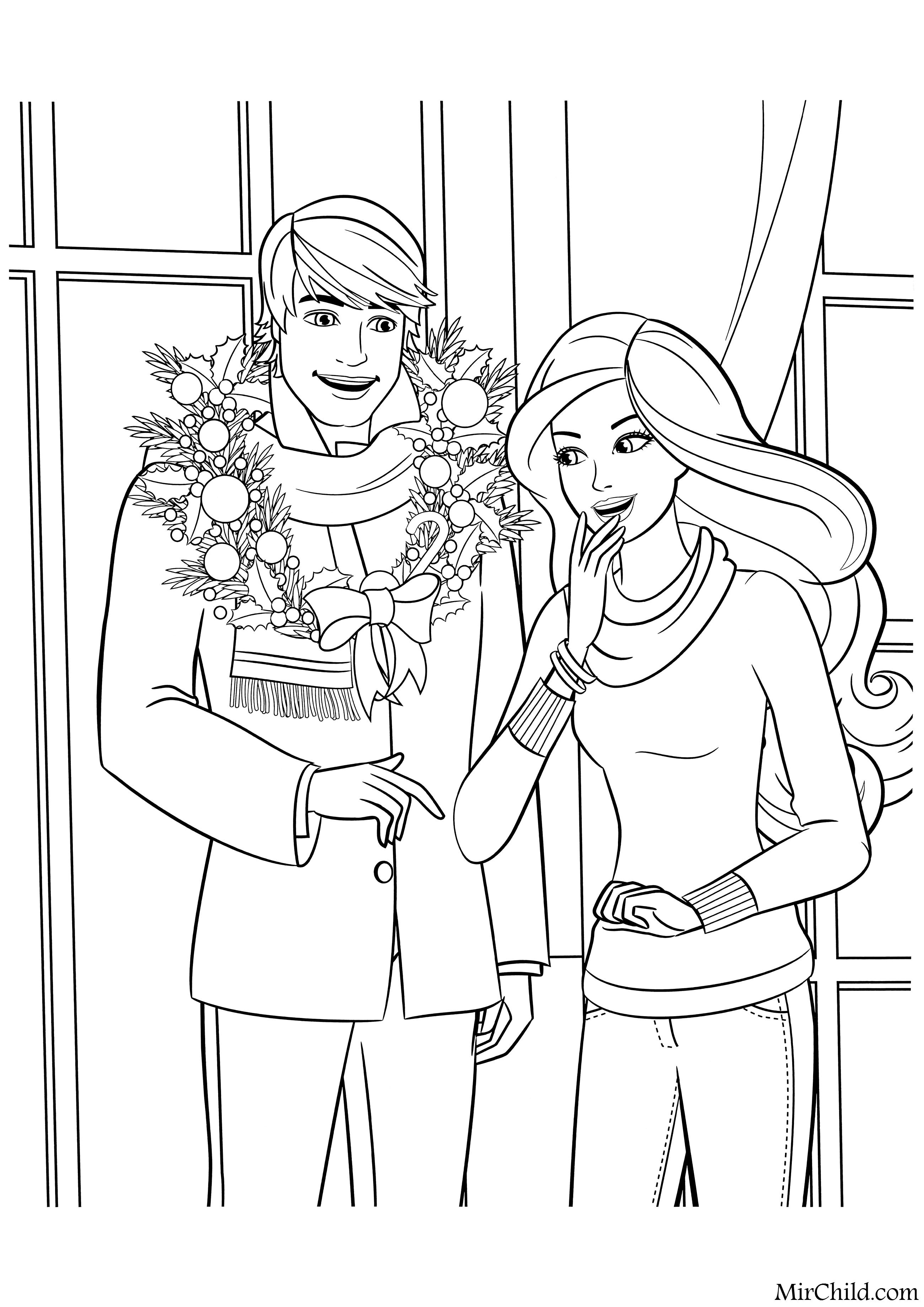 Раскраска - Барби - Кен и Барби | MirChild