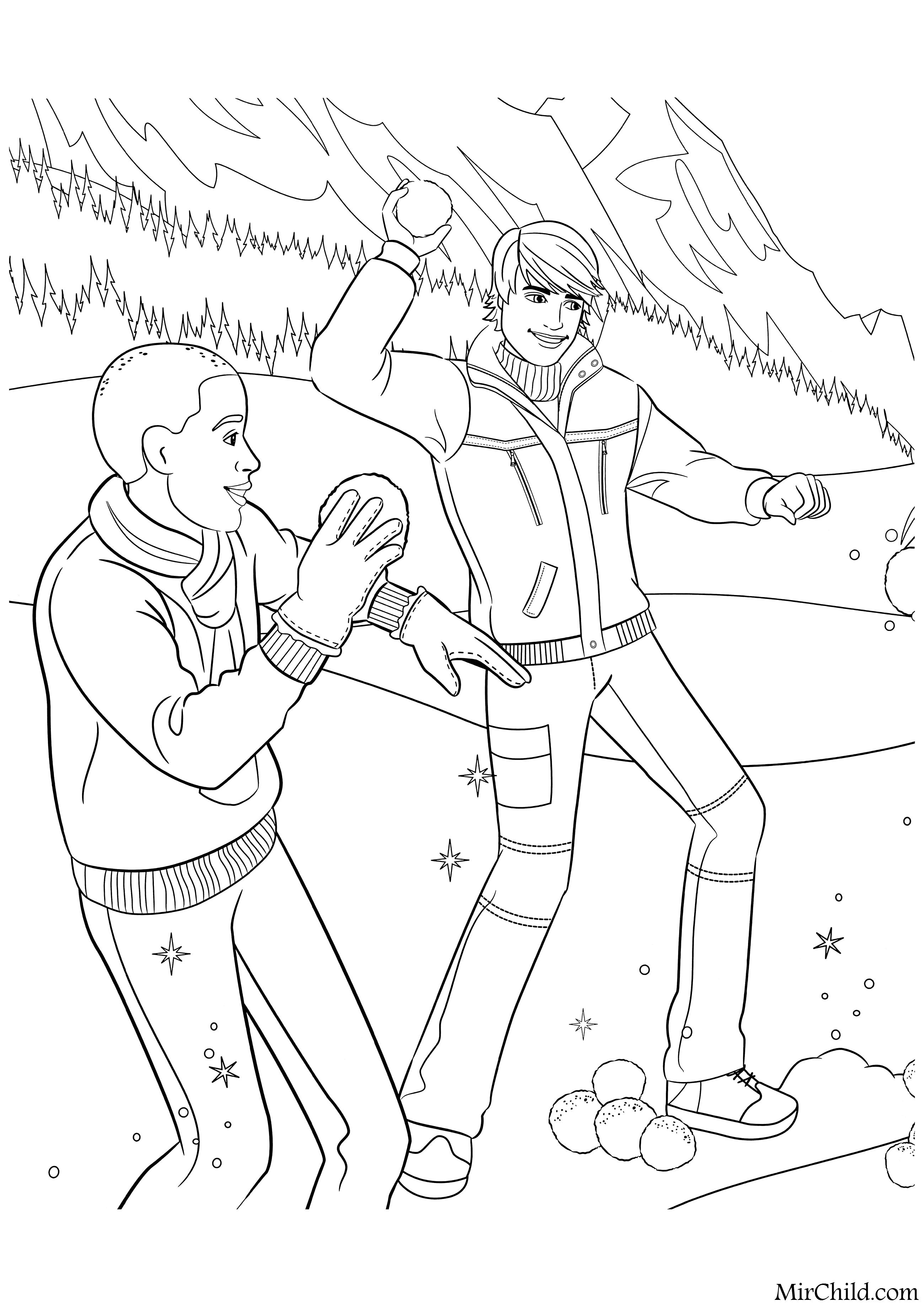 Раскраска - Барби - Кен c другом играют в снежки | MirChild