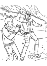 Раскраска - Барби - Кен c другом играют в снежки