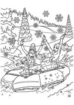 Раскраска - Барби - Барби с подругами катятся с горки на тюбе