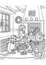 Раскраска - Барби - Барби с подругами отдыхают дома