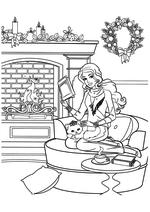 Раскраска - Барби - Барби читает книгу у камина