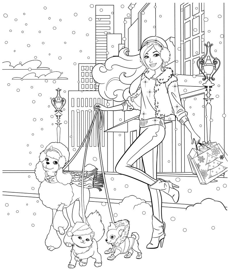 Раскраска - Барби - Барби со своими питомцами | MirChild