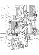 Раскраска - Барби - Барби со своими питомцами