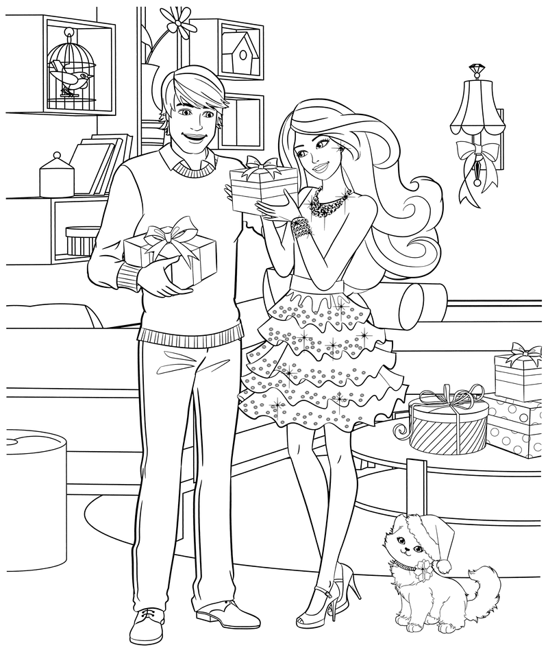 Раскраска - Барби - Кен и Барби с подарками | MirChild